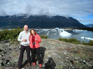 Enjoying some champagne at the bottom of the Knik Glacier