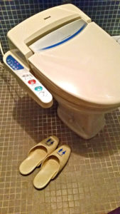 Japanese toilet with slippers