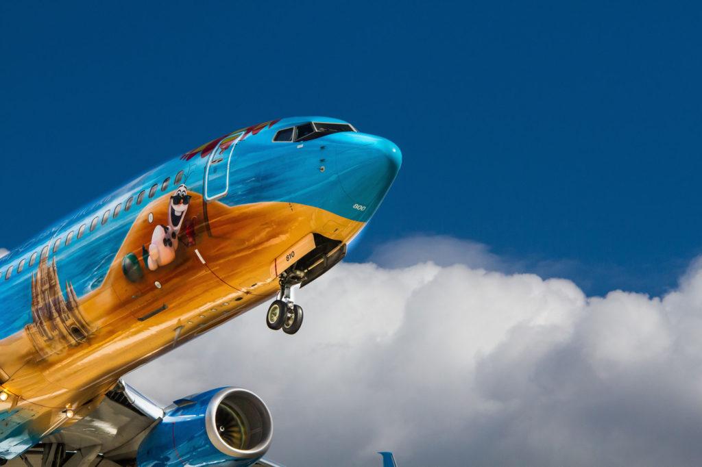 Painted airplane landing