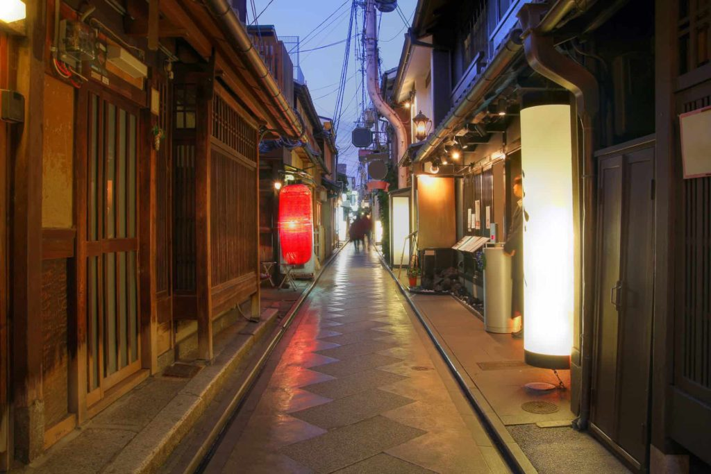Pontocho Alley in downtown Kyoto