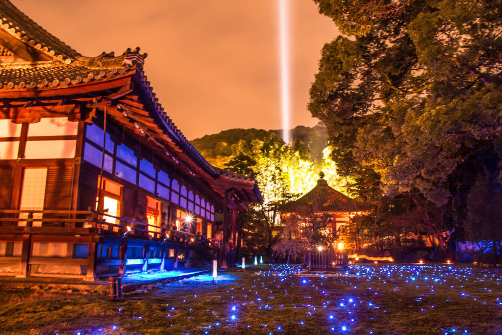 Shoren-in temple night illumination Kyoto, Japan-