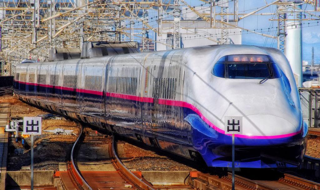 A shinkansen, a bullet train in Japan