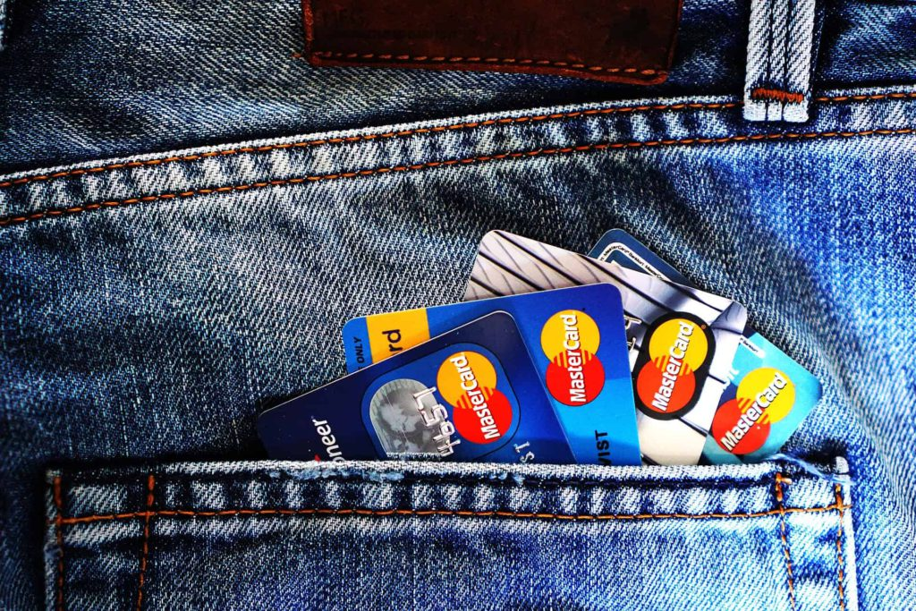 Credit cards in backpocket