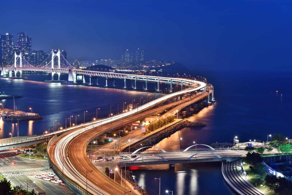 Diamond Gwangandaegyo bridge Busan by night, South Korea