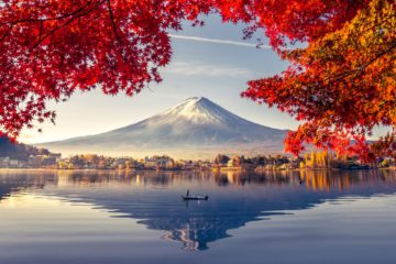 Lake Kawaguchiko Fall Colors Mt. Fuji Japan