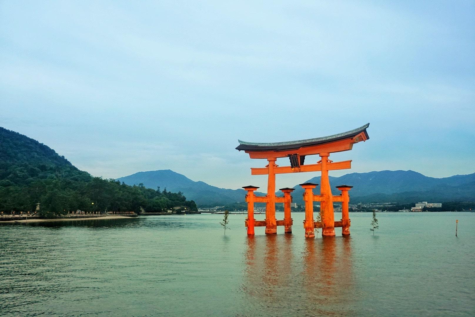 Torii gate Itsukushima Shrine Miyajima island Japan