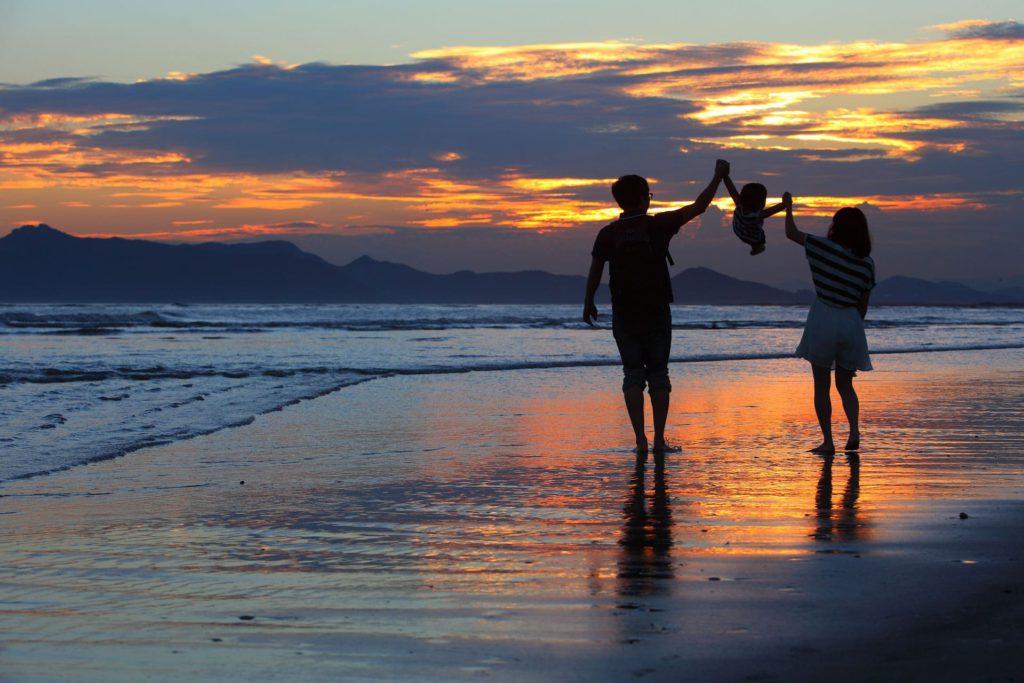 Busan beach family South Korea