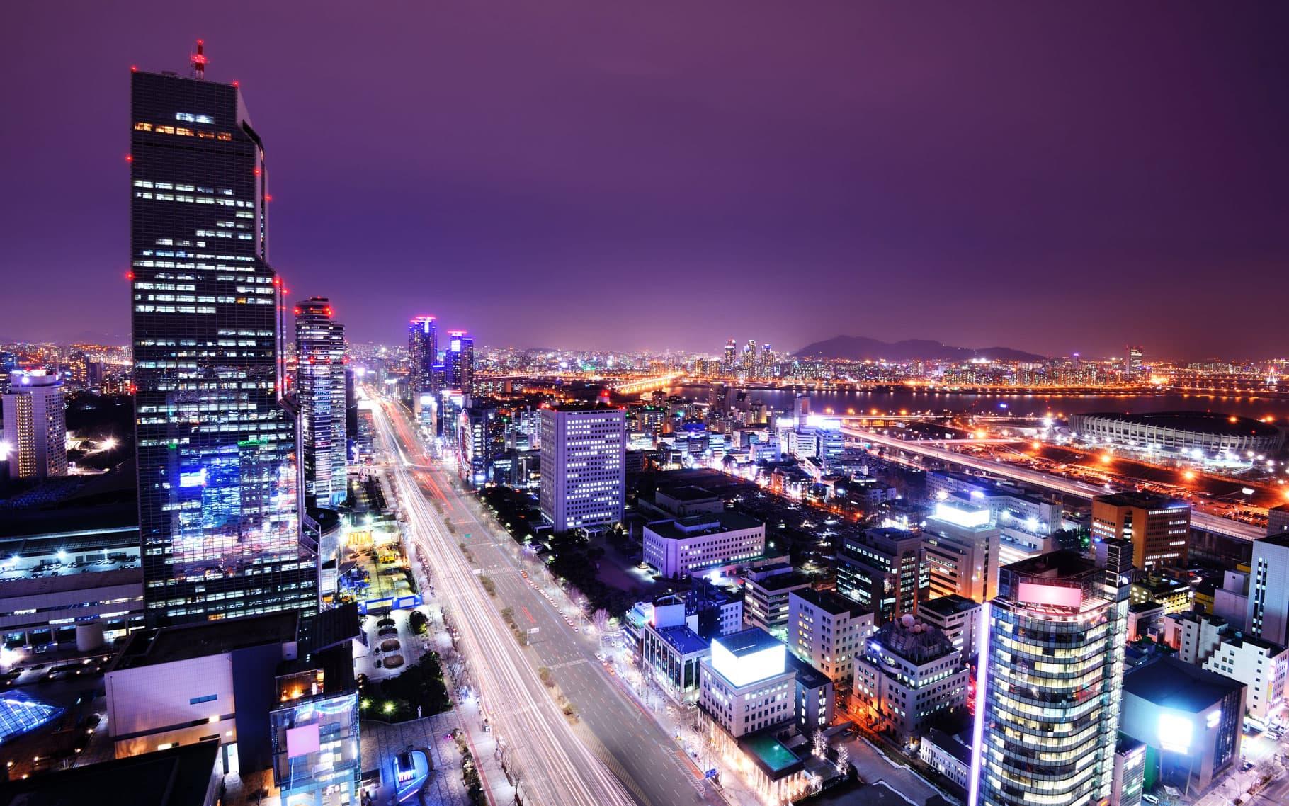 Gangnam by night Seoul South Korea