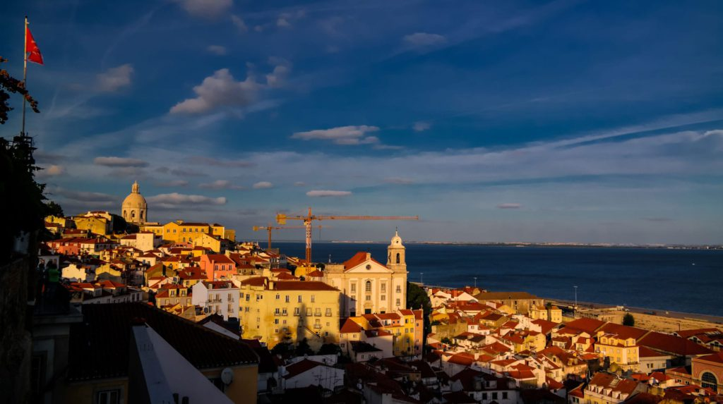 Watching the winter sun set over Lisbon in Portugal