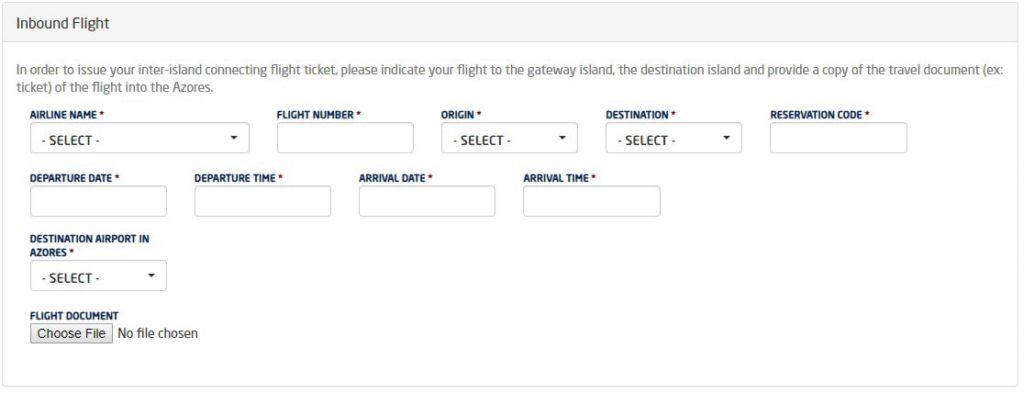 Free Azores Inbound Flight
