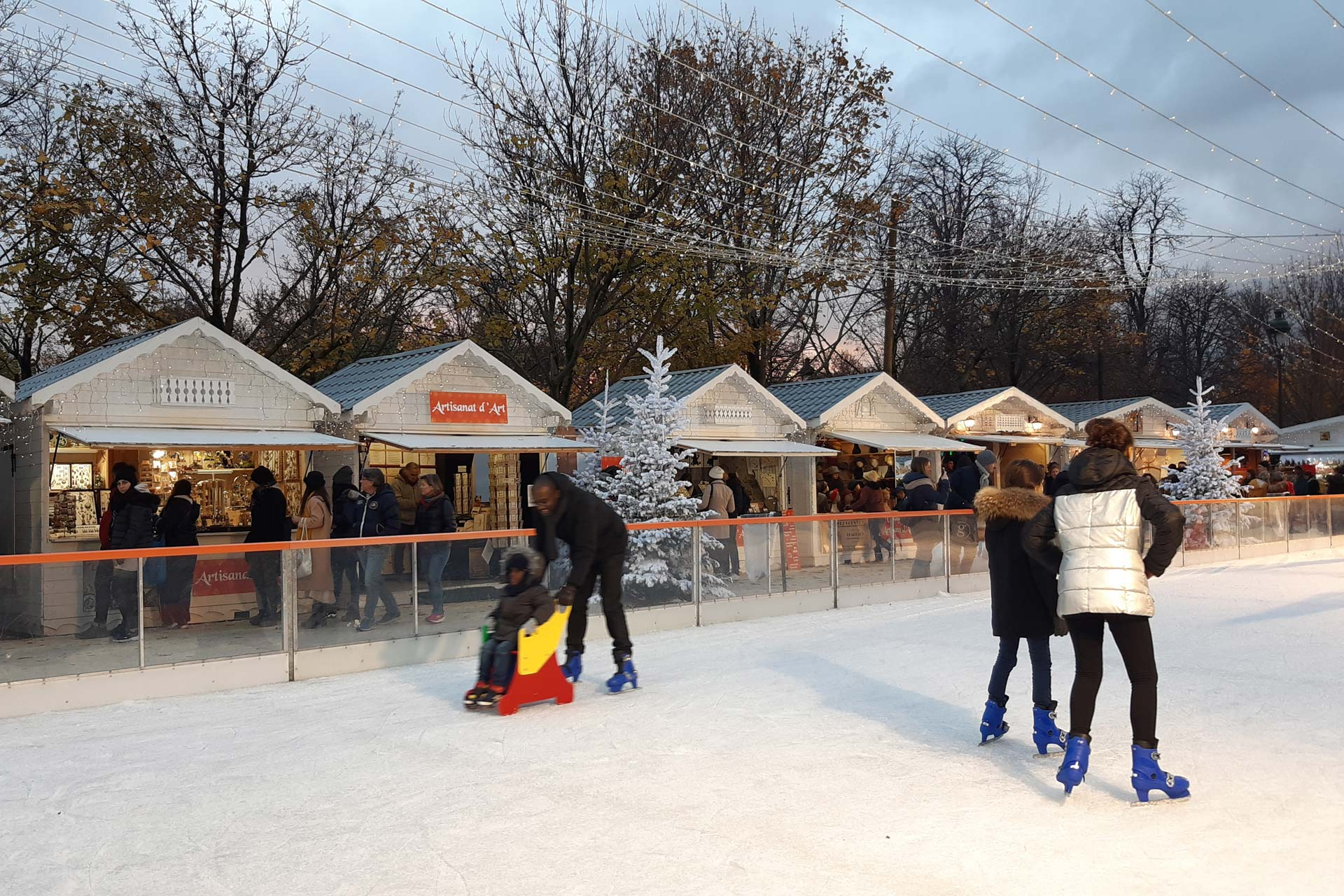 Ice skating at the Tuileries Garden Christmas Market in Paris
