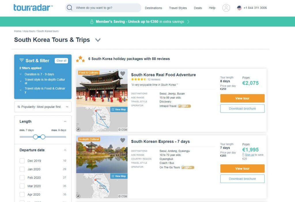 TouRradar screenshot South Korea