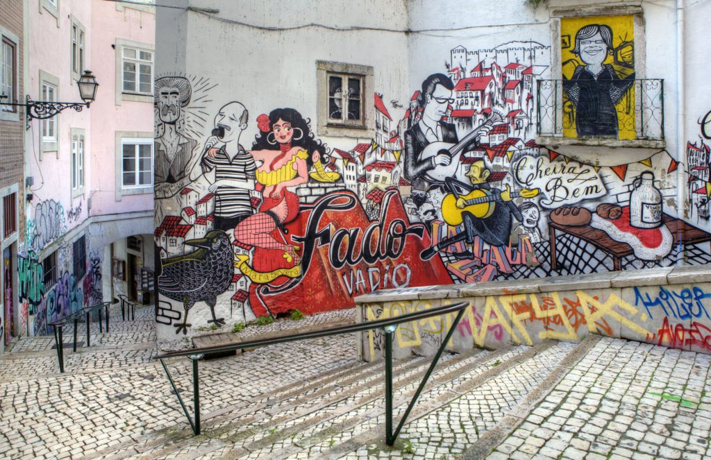 Fado street art, Lisbon, Portugal