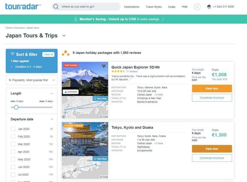 Tourradar tours Japan