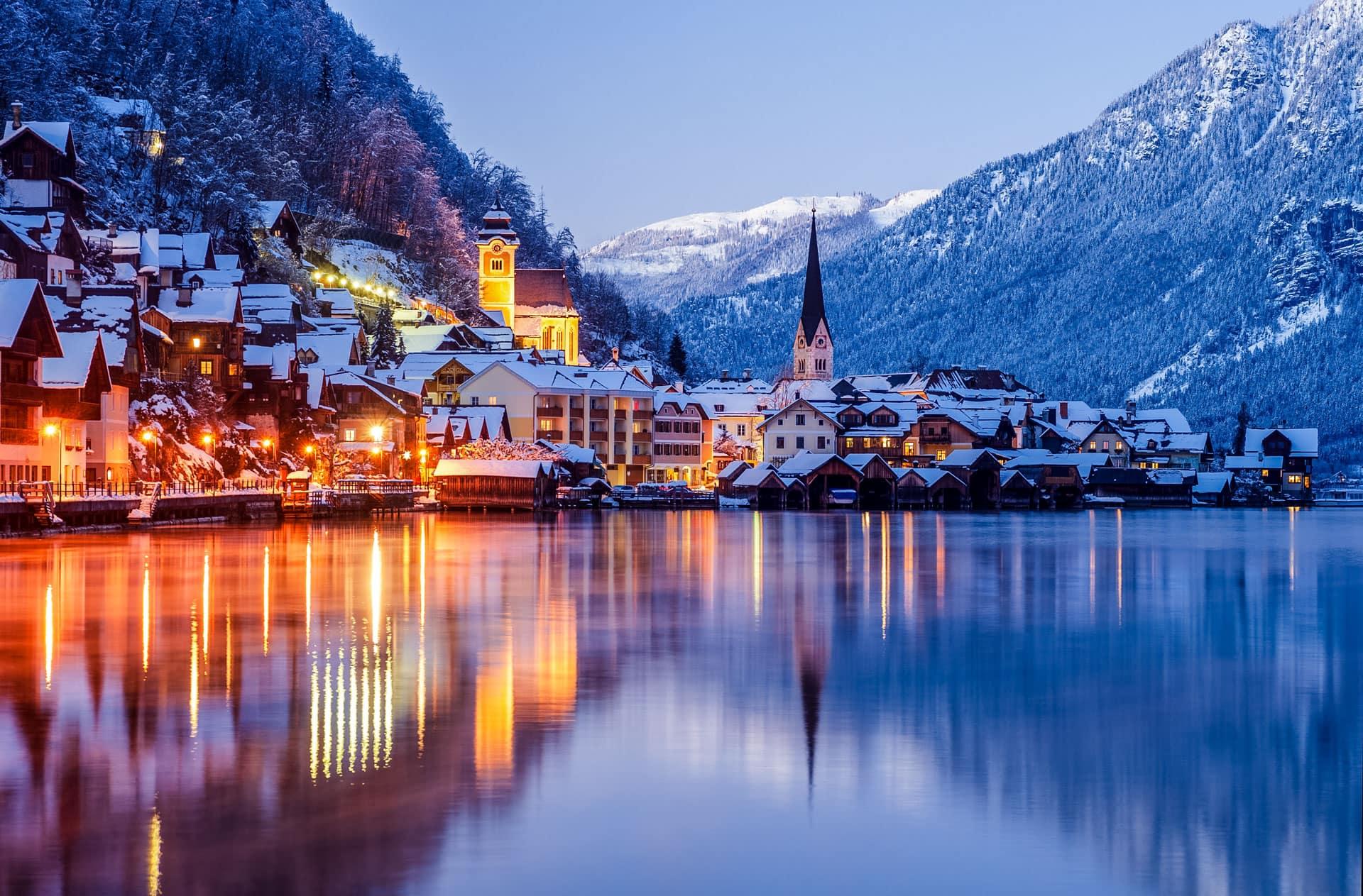 Hallstatt in Winter Austria