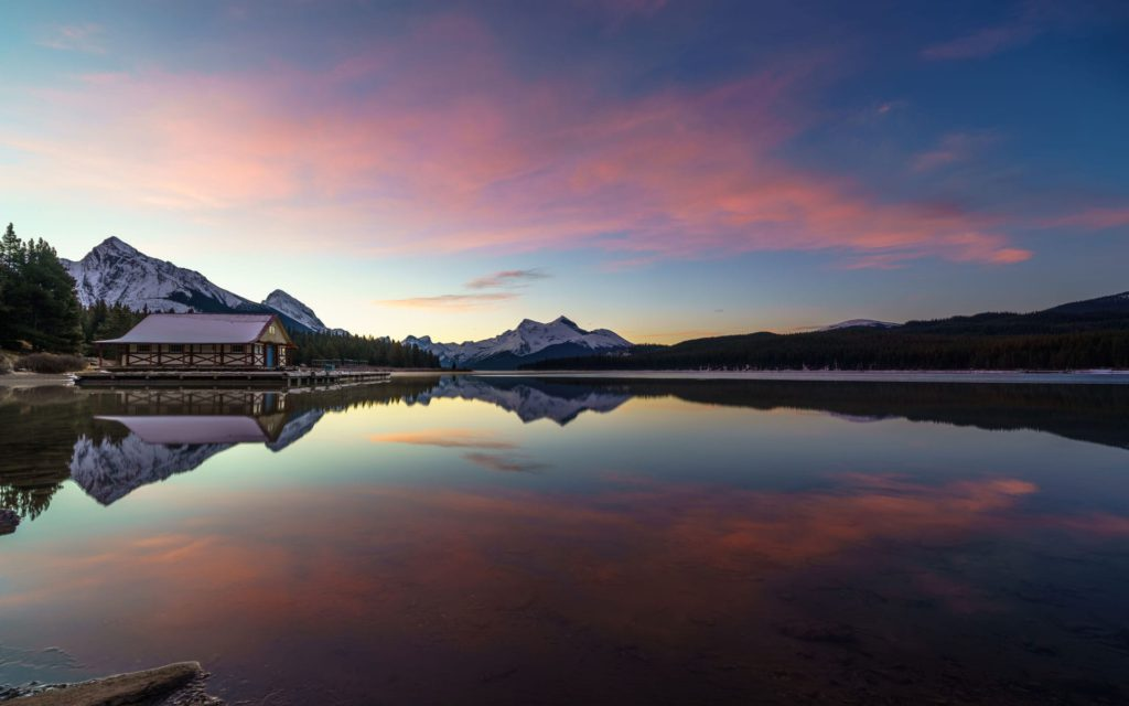 Maligne Lake  in Jasper National Park is not to be missed on a Banff and Jasper itinerary