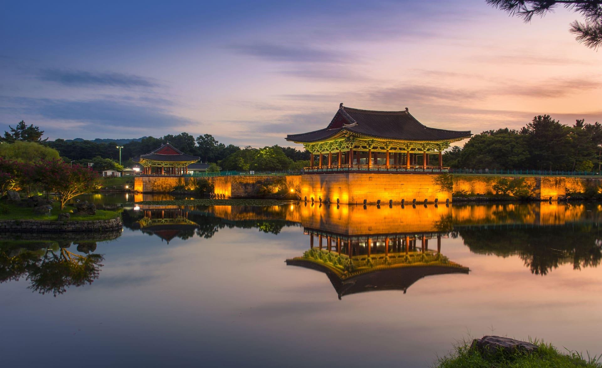 Sunset on Wolji pond Gyeongju South Korea