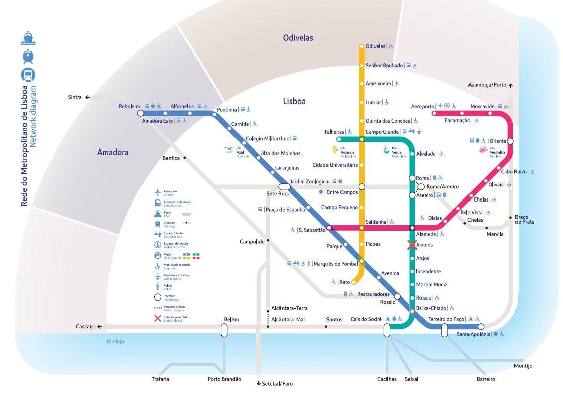 Metro Map Lisbon Portugal