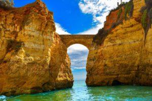 Praia dos Estudantes bridge Lagos Algarve Portugal