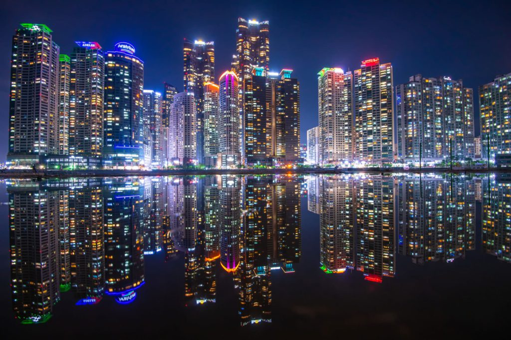 Skyline at night Busan South Korea