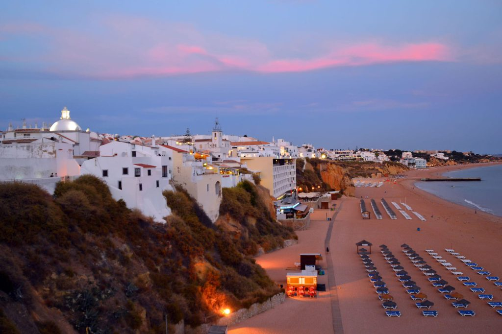 Albufeira beach sunset Algarve Portugal