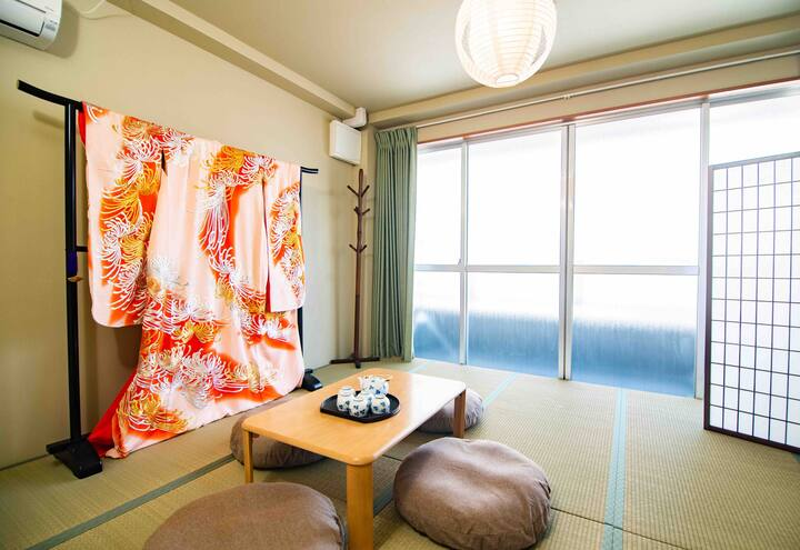 This Entire house hosted by Aozora is one of the best Airbnb's in Osaka for large families