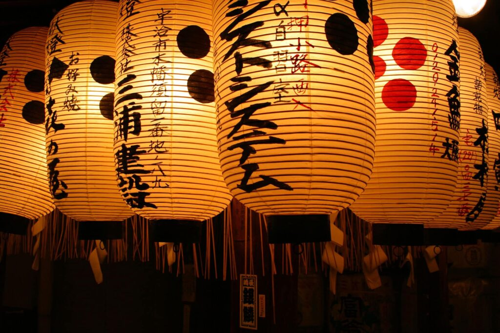 Lanterns in temples in Japan
