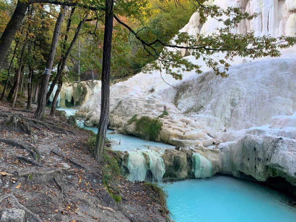Deposits of calcium along the river in Bagni San Filippo