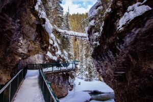 Visiting Johnston Canyon is one of the top things to do in Banff in Winter
