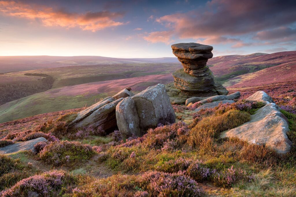 The green rolling countryside of the Peak District in England