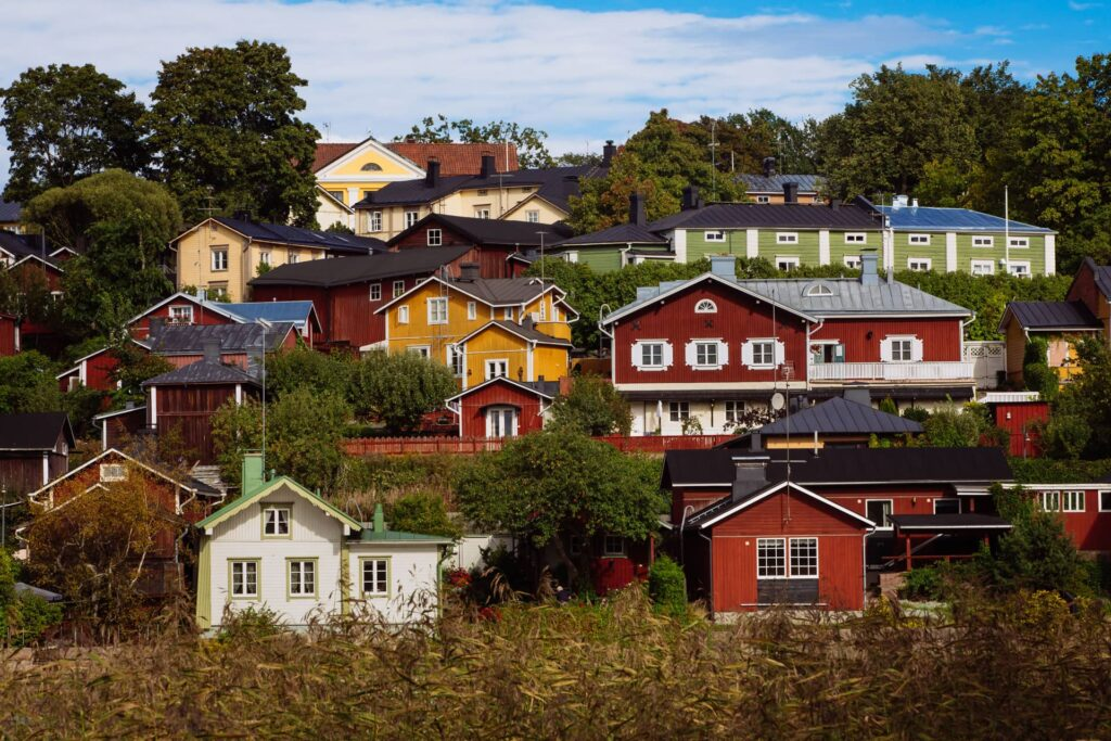 The colorful houses in Porvoo