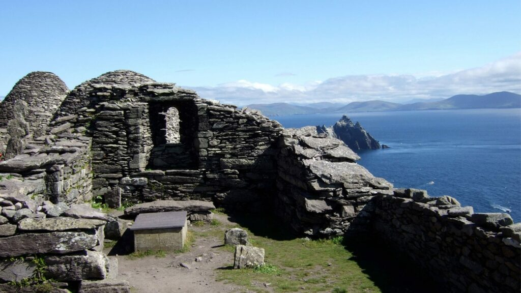 Stone beehive huts that were used by monks on Skelling Michael