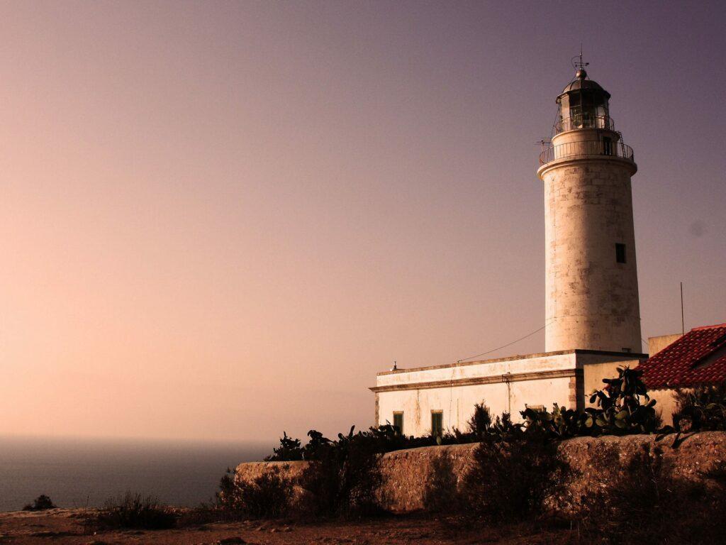 Lighthouse on Formentera island during sunset