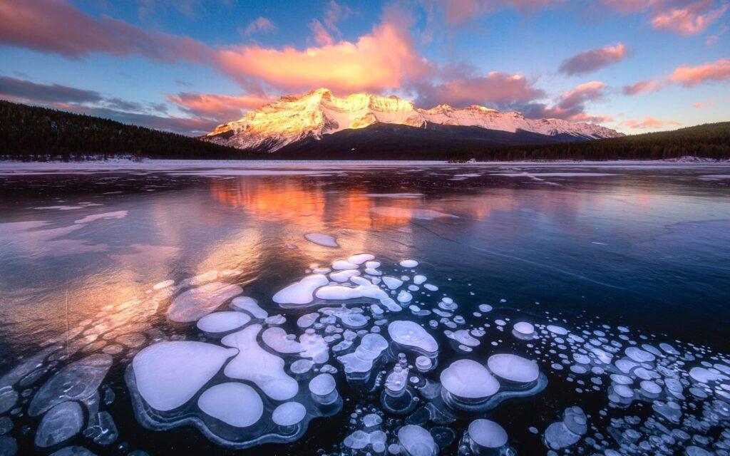 Ice Bubbles in Lake Minnewanka