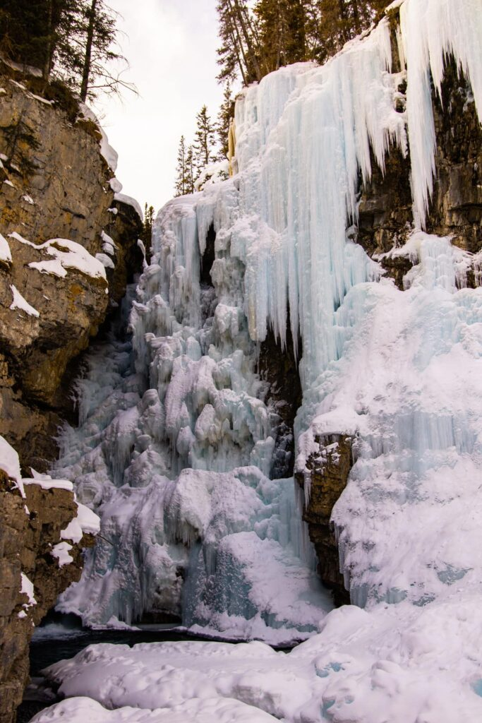The upper falls in the Johnston Canyon in the winter