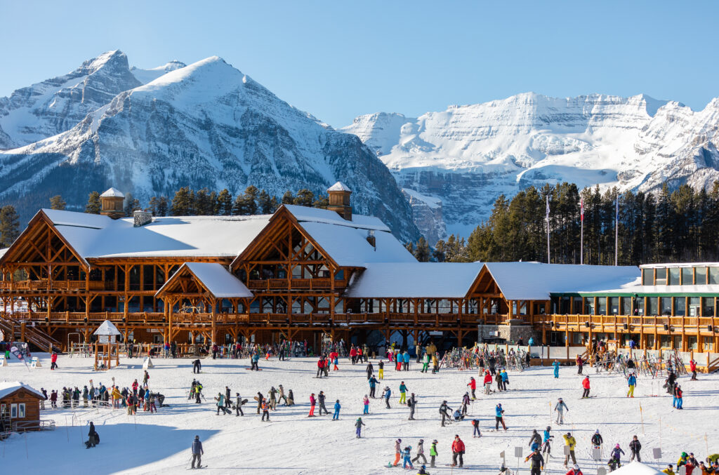 Lake Louise Ski Resort. Ice skating on the lake is a famous Banff winter activity