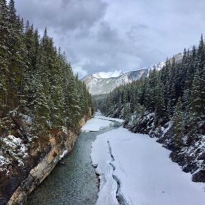 Stewart Canyon in Banff National Park in winter