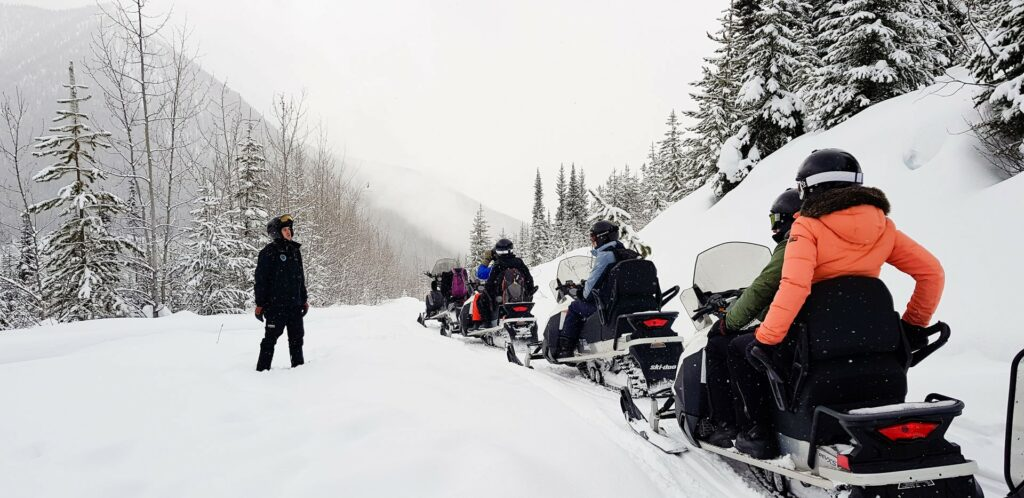 Our guide made several stops during our snowmobile tour to share driving tips