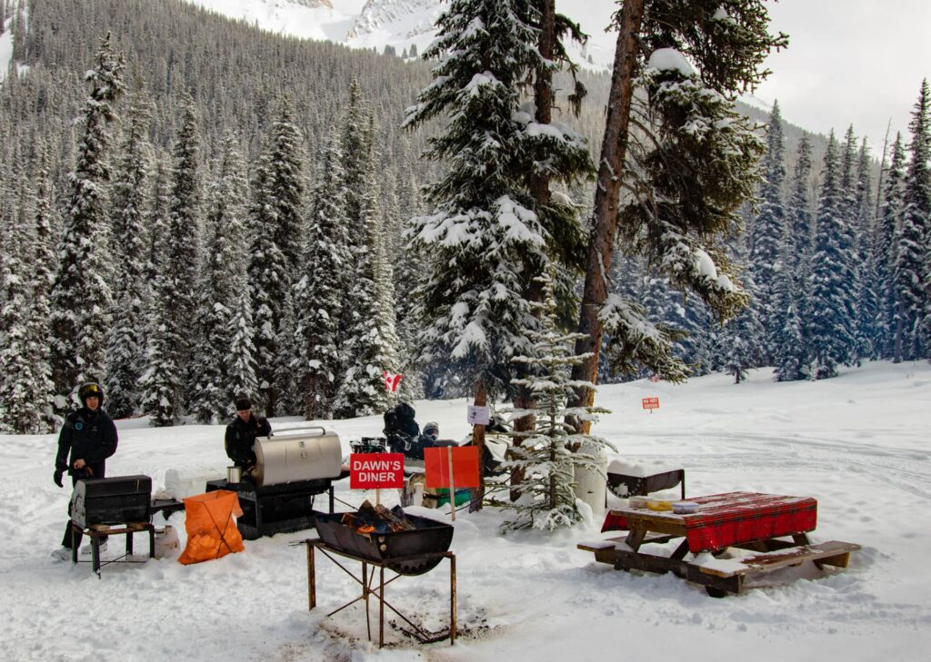 The hearty BBQ lunch during our snowmobile tour
