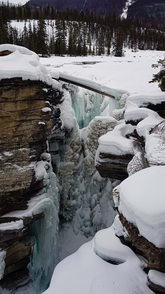 The frozen Athabasca Falls in Winter