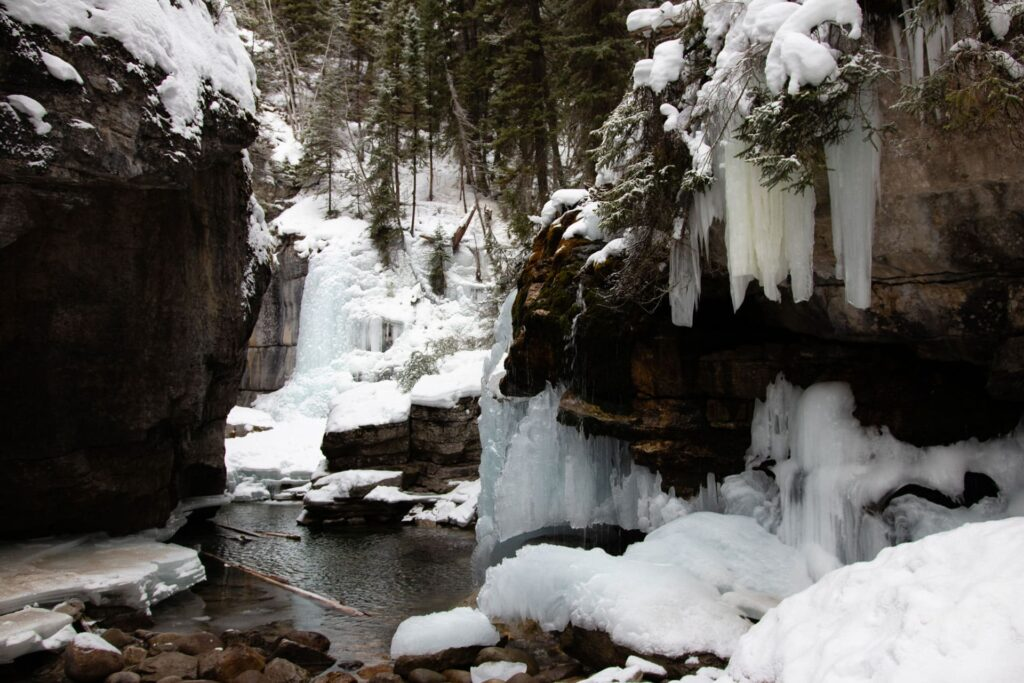 Go hiking in Maligne Canyon to see this spectacular winter wonderland