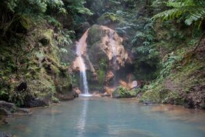 Caldeira Velha, the waterfall in the hot springs on São Miguel island