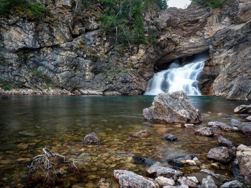 The Running Eagle Falls in Glacier National Park USA