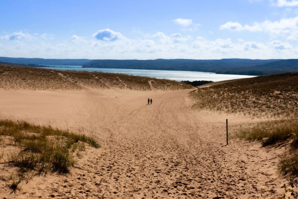 A view from the Dunes trail towards Lake Michigan