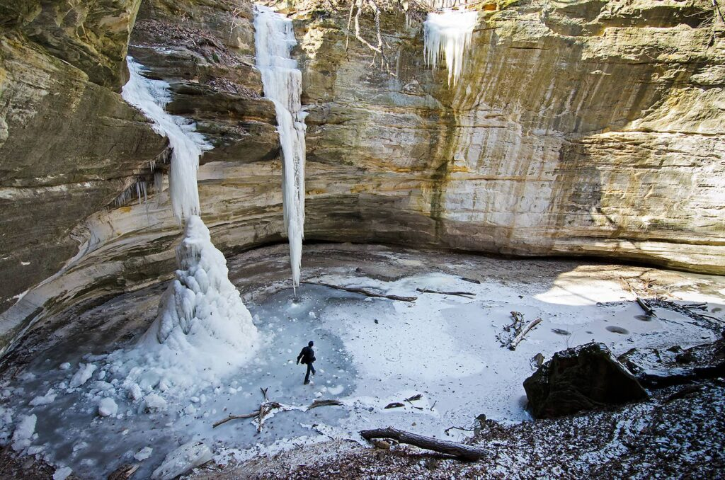 The frozen Ottawa Canyon Falls in Starved Rock State Park in Illinois