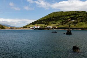 Porto Pim with the Whaling Museum and Monta da Guia on the right