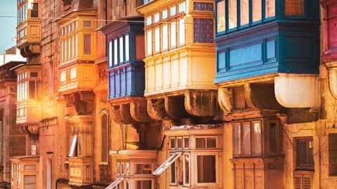 Colorful houses in Valetta