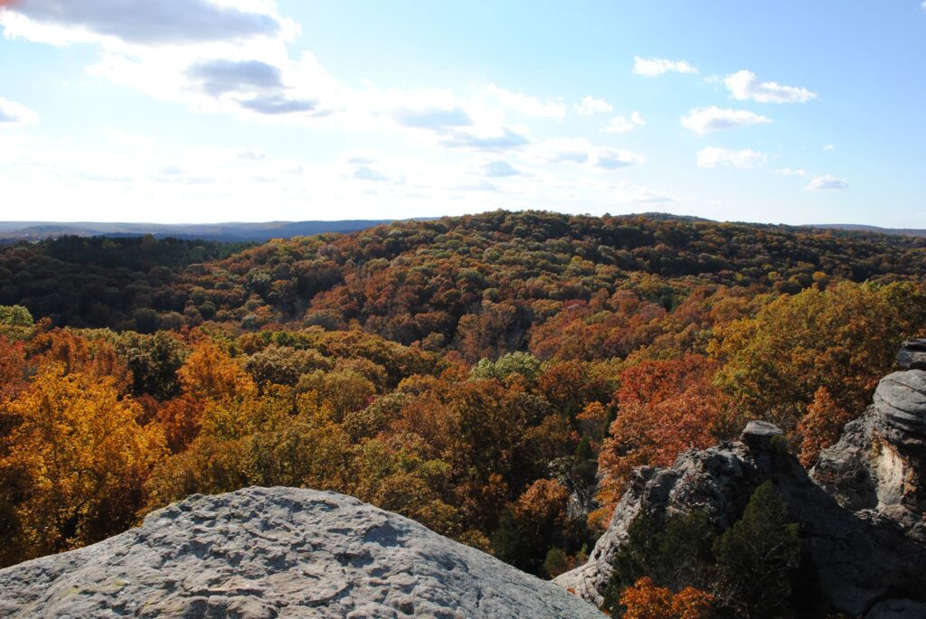 Fall colors seen from the Garden of the gods in Shawnee National Forest in Illinois