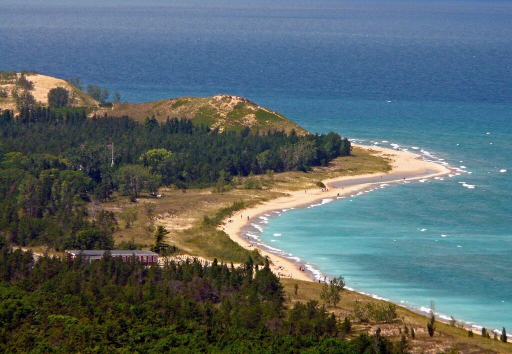 Aerial view of Glen Haven Beach in Sleeping Bear Dunes National Lakeshore, Michigan