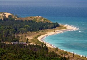 Aerial view of Glen Haven Beach Sleeping Bear Dunes National Lakeshore Michigan